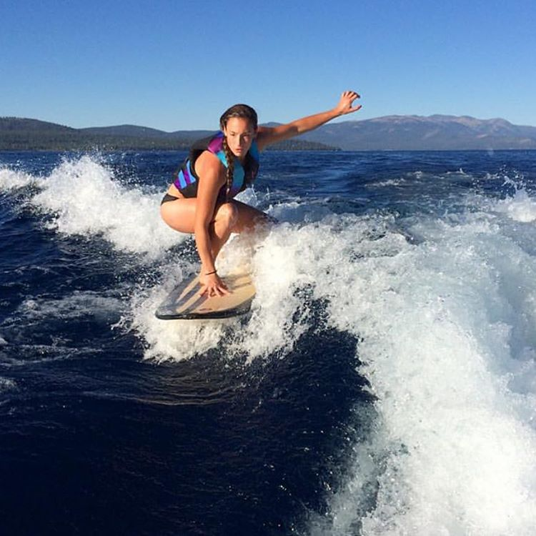 #repost from SheJumps' @krystinnorman. @jpetrut making waves wake surfing on Lake Tahoe. We can't say goodbye to this summer. It's  too good. Take advantage before the snow flies. #iamsj #shejumps
