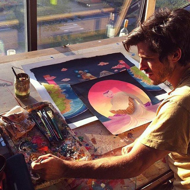 """The highest purpose of art is to inspire. What else can you do? What else can you do for someone but inspire them?"" ~ Bob Dylan // photo of artist @jonnyalexander at work // #AllSwell"