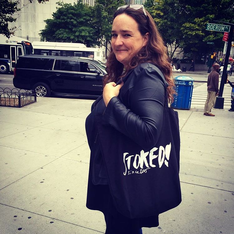 @swissmiss rocking our limited edition tote coming soon #shopSTOKED