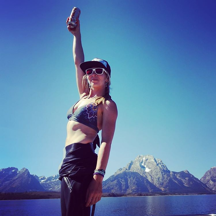 Cheers summer, it's been fun! Now bring on winter and deep pow days!  @kyehalpin celebrates the first day of fall on Jackson Lake. #avalon7 #liveactivated #wakesurf www.avalon7.co