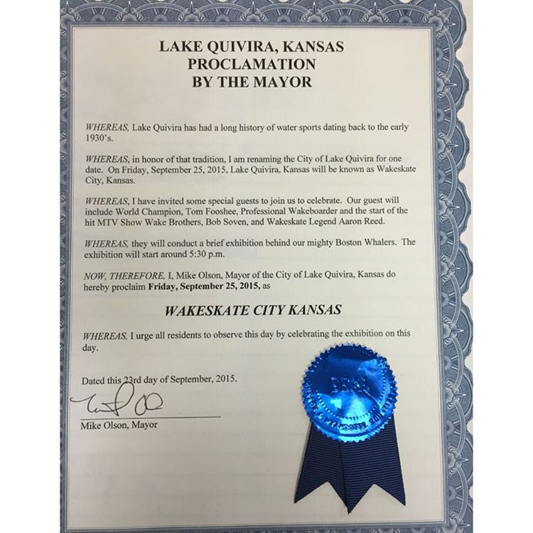 This Friday Mayor @mikeolsonkc officially renames Lake Quivira, KS as Wakeskate City!  Come on out and join @ronreeds, @tomfooshee & @bobsoven as we celebrate the proclamation!  We'll then be at @kcwatersports all weekend for Relentless Weekend!