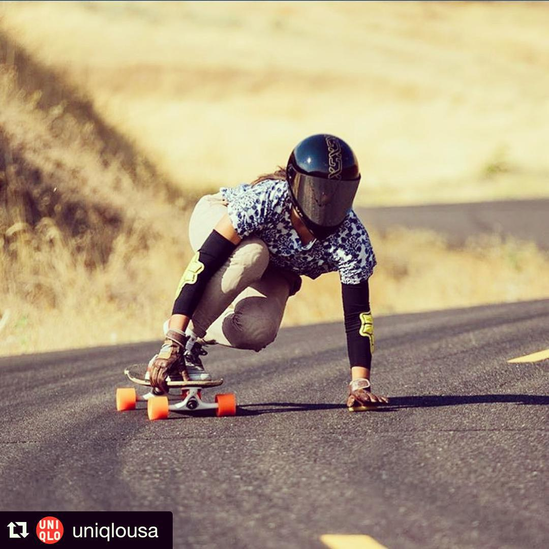 XS rider @iamcindyzhou featured by fashion designer and retailer  #uniqlo wearing her XS DH6. P: @aero.media #fashion #longboard #girlswhoshred #skate #skatelife #xshelmets #dh6 #originaldesign #downhill
