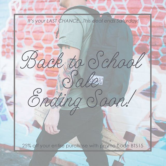 Our BTS promo is ending soon! Get 25% off while you can, this ends on Saturday! Use promo code BTS15 at concretenative.com, good on your entire order. We gotta make room for the new Fall product, comin' in hot!  #backtoschool #deal #backpack #ska8life...