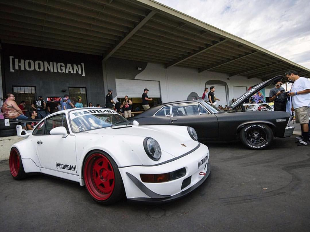 If you know HNGN Brand Director @brianscotto, then you know he can host an entire car show with his own fleet of vehicles. @superstreet caught his #rwbxhngn 911 and #NapalmNova sitting tough at the Bakery grand opening here at the #DonutGarage!...