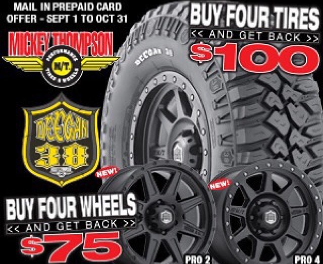 Some pretty sweet deals going on now at @mickeythompsontires for the #deegan38 rims and tires ✊