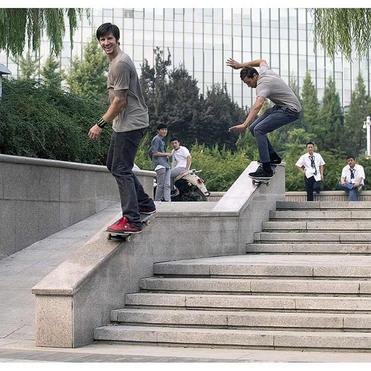 #TBT to @chriscobracole and @mikeytaylor1 doing double duty on Chinese hubba. Photo: @blabacphoto #DCShoes
