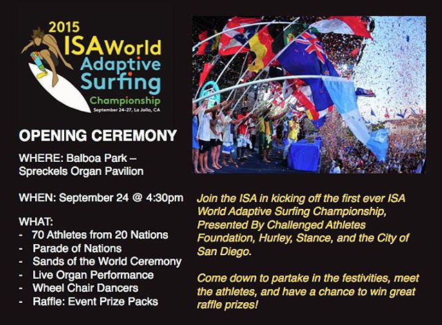 Hey San Diego Locals! Plans tonight? Join us tonight @4:30pm for the opening ceremonies of the FIRST EVER ISA Adaptive Surfing Championships. This will be an incredibly special and historic evening, one you won't want to miss! @isasurfing #luvsurf #ISA...