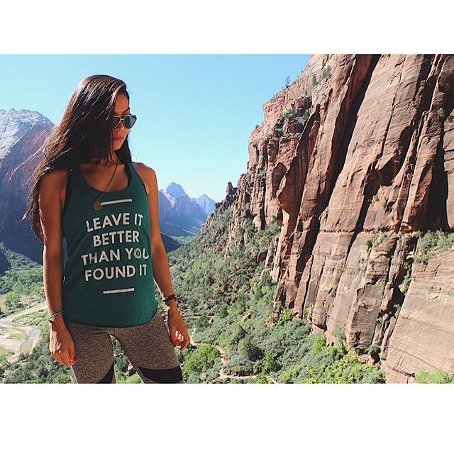 An incredible park and our favorite mantra - @talia.la rocking our Leave It Better Tank & Expedition Necklace in Zion. All made with purpose in the USA.
