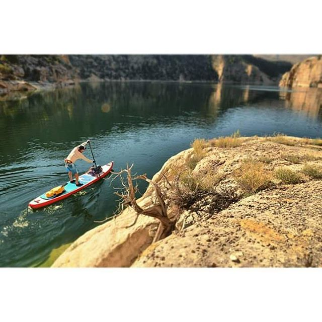 @suppaul_pics paddling the new 14 ft #halanass in the Flaming Gorge.