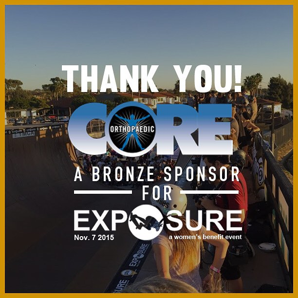Thank you to Core Orthopaedic Medical Center confirmed to be a bronze sponsor for Exposure 2015!! There are plenty of partnership opportunities still available, email partnerships@exposureskate.org to find out how you can help empower girls through...