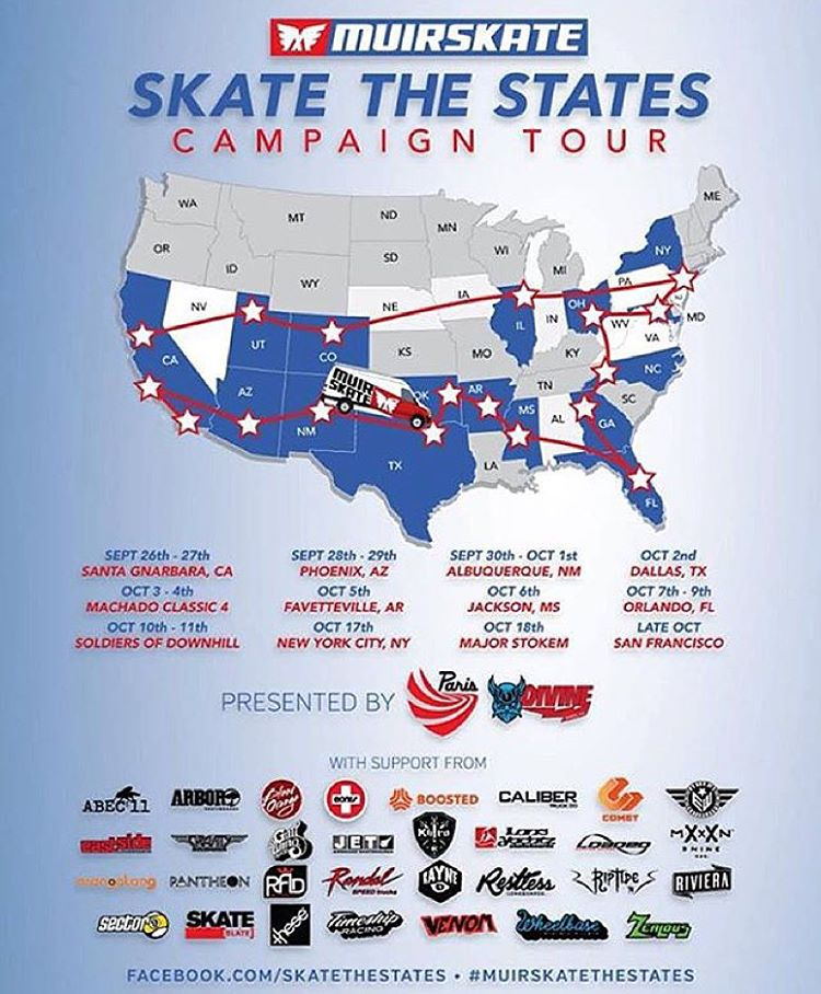 Kicking off today, the #muirskatethestates tour is about to begin. We are proud to be the presenting sponsor along with our friends at @paristruckco! Come out and skate with us while we make appearances all across the U.S. First stop,...