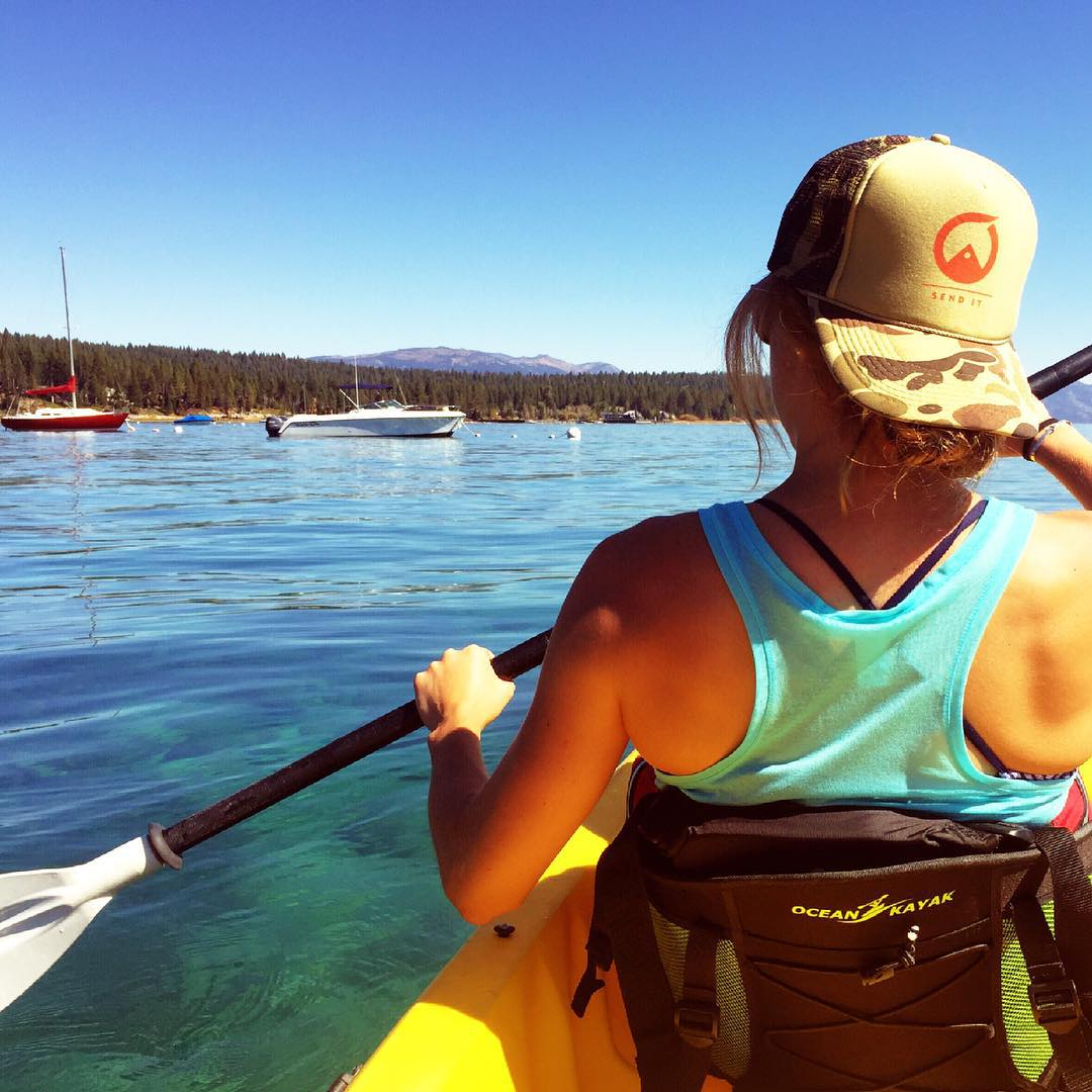 Soaking up the indian summer days on the lake... Happy Friday! #sendit #senditfoundation #movementislife #laketahoe