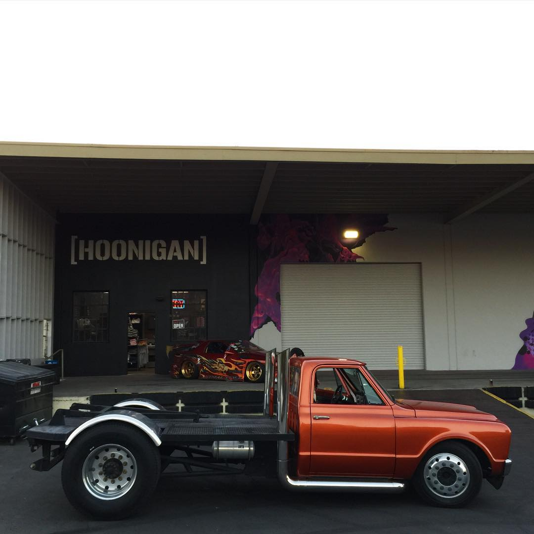Anyone recognize this truck from a certain movie? If not, guess. @jacksonspeed brought it to the #DonutGarage Bakery yesterday and it may or may not have done a mildly furious burnout. #hooneverything