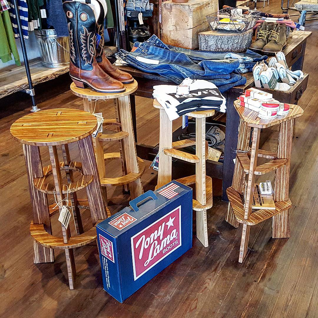 Take a quick break from your #Popecation and check out our Carbonized and Tiger stools at @trovegeneralstore. Meant for tired bums, they also work well holding boots and tees.  #Paoli #Malvern #Philly #Pope #TGIF #friday #weekend #barstool #barstools...