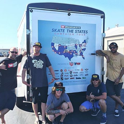 The @muirskate #muircedes rolled by @resourcedistribution and got this sweet wrap slapped on that back of the trailer. @_ricker_ and @lonniesk8 were more than stoked to load it up with a ton of goodies for the #muirskatethestates tour coming to you...