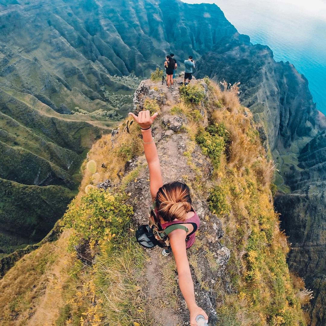 Photo of the Day!  Aloha from the top of Awa'awaphi Trail, Kaua'i. Image via @venturehawaii Share your best moments with us by clicking the link in our profile. #Hike #GoProTravel
