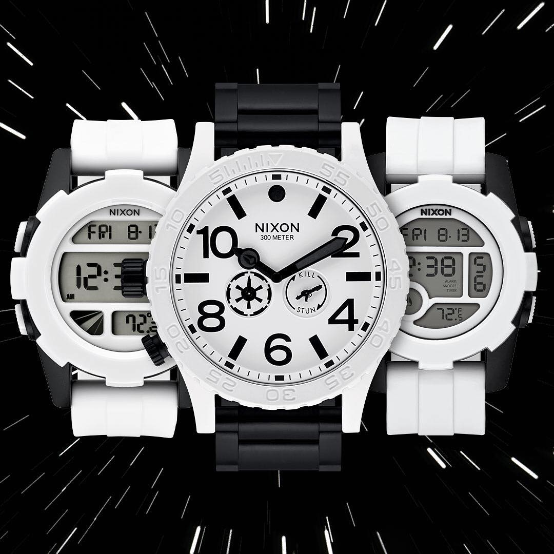 "The @StarWars | Nixon #Stormtrooper collection features  custom caseback art with the famous Stormtrooper quote ""Move Along"" and accessories embossed with the Imperial Marker, it's the design details that drive us. #NixonNow #TheForceAwakens #StarWars..."