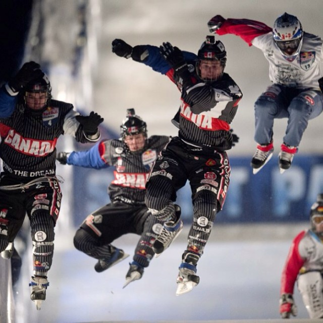 Party run!  Be sure to check the full broadcast of Red Bull #CrashedIce tonight on @FoxSports1 at 9:30PM ET