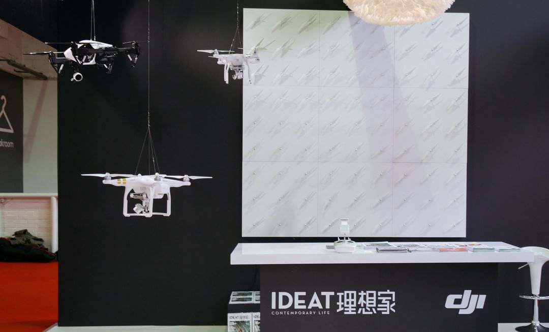 #DJI was at the 100% Design in London.  Guess what the wall of props can do?  http://bit.ly/DJI100DL  #IamDJI