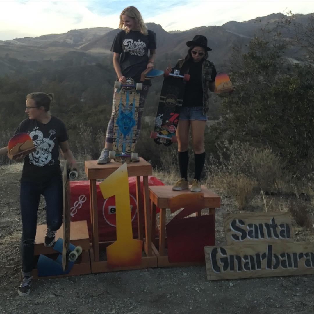 """Women's podium at #santagnarbaradownhill  @palaxa @""""O'doul's"""" @laura"""