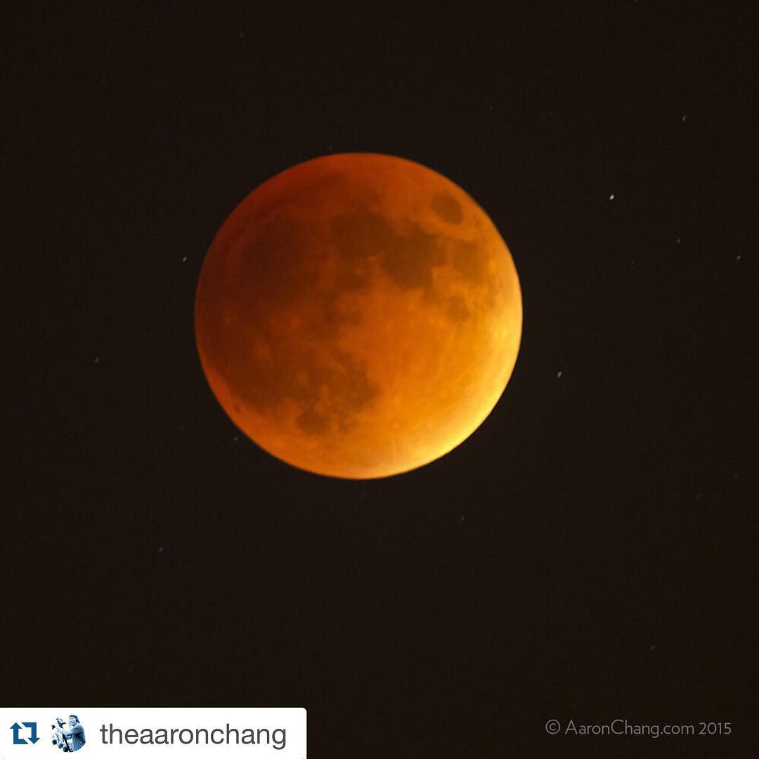 #Reposted image from the world-renown eye (and #Instagram feed) of the amazing @theaaronchang.  Last night Aaron captured this magical shot of the Blood Moon, in #Carlsbad CA.  For anyone who appreciates incredible photography, please treat yourself to...