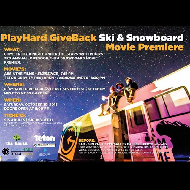 It's that time of year again!! #PHGB 3rd annual Ski & Snowboard Movie Premiere!  Saturday, October 10th @tetongravity - #paradisewaits  @absinthefilms - #eversince  Doors open at 6pm  BEFORE:  Starting at 9am Same Day (Oct 10) @banks.gilberti will be...
