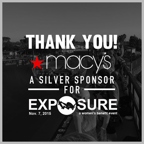 Thank you to @macys confirmed to be a silver sponsor for Exposure 2015!! There are plenty of partnership opportunities still available, email partnerships@exposureskate.org to find out how you can help empower girls through skateboarding!