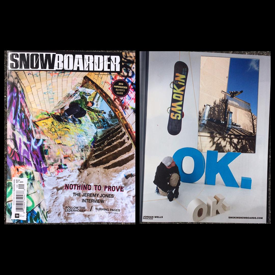 The new issue of @snowboardermag is out - check out new @_swells_ ad with the #GoodWood2016 winning #Hooligan board big thanks to everyone @ #snowboardermagazine for a great mag!  #weareOK | #handmadeUSA | #ForRidersByRiders | #Hooligan