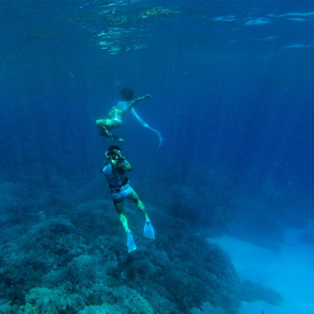 Behind the scenes during an underwater photo session, late this summer in Kona.