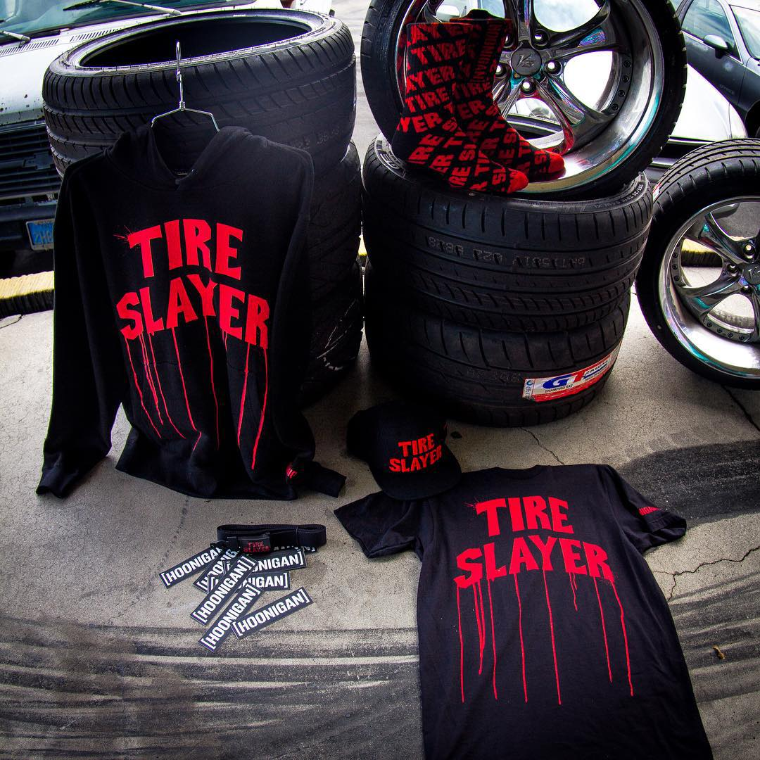 A fresh remix on a Hoonigan staple, the all new Tire Slayer Collection is now available on #hoonigandotcom (click link in bio).