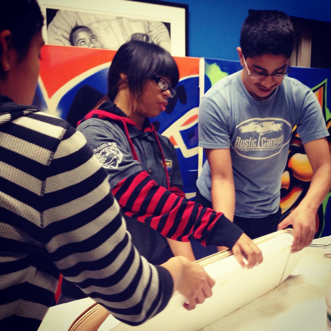 Teamwork at its best! While building and designing skateboards, students in our afterschool programs learn real life skills.
