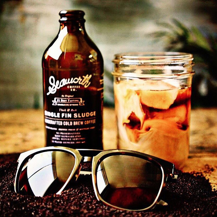 It's cooling off finally and to celebrate #NationalCoffeeDay we are taking down the best cold brew around @seaworthcoffee. Also, a little  teaser introduction of a brand new frame called the #Plimpton! Coming soon! #VonZipper #SupportWildLife