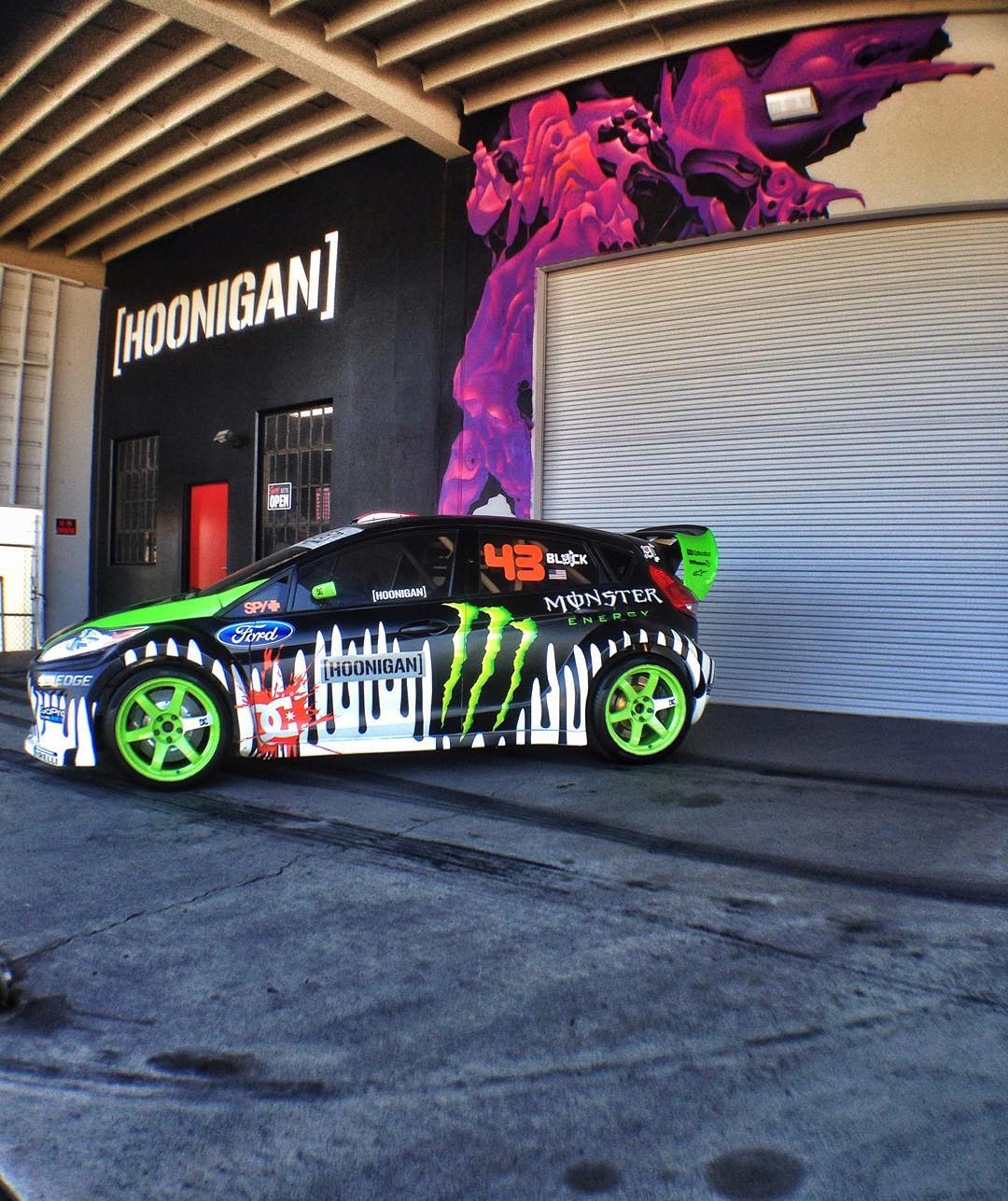 The Gymkhana 3 car was really cramping the lunch room at the #donutgarage so figured we'd put it out on display for anyone who comes to the #HNGNBakery today. #opentill7