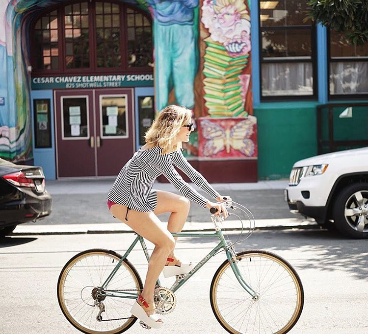 Living life on the edge, riding bikes in platforms without pants. Cuz everything is better without pants. #amirite #oramirite #kindafancy #nopantsparty
