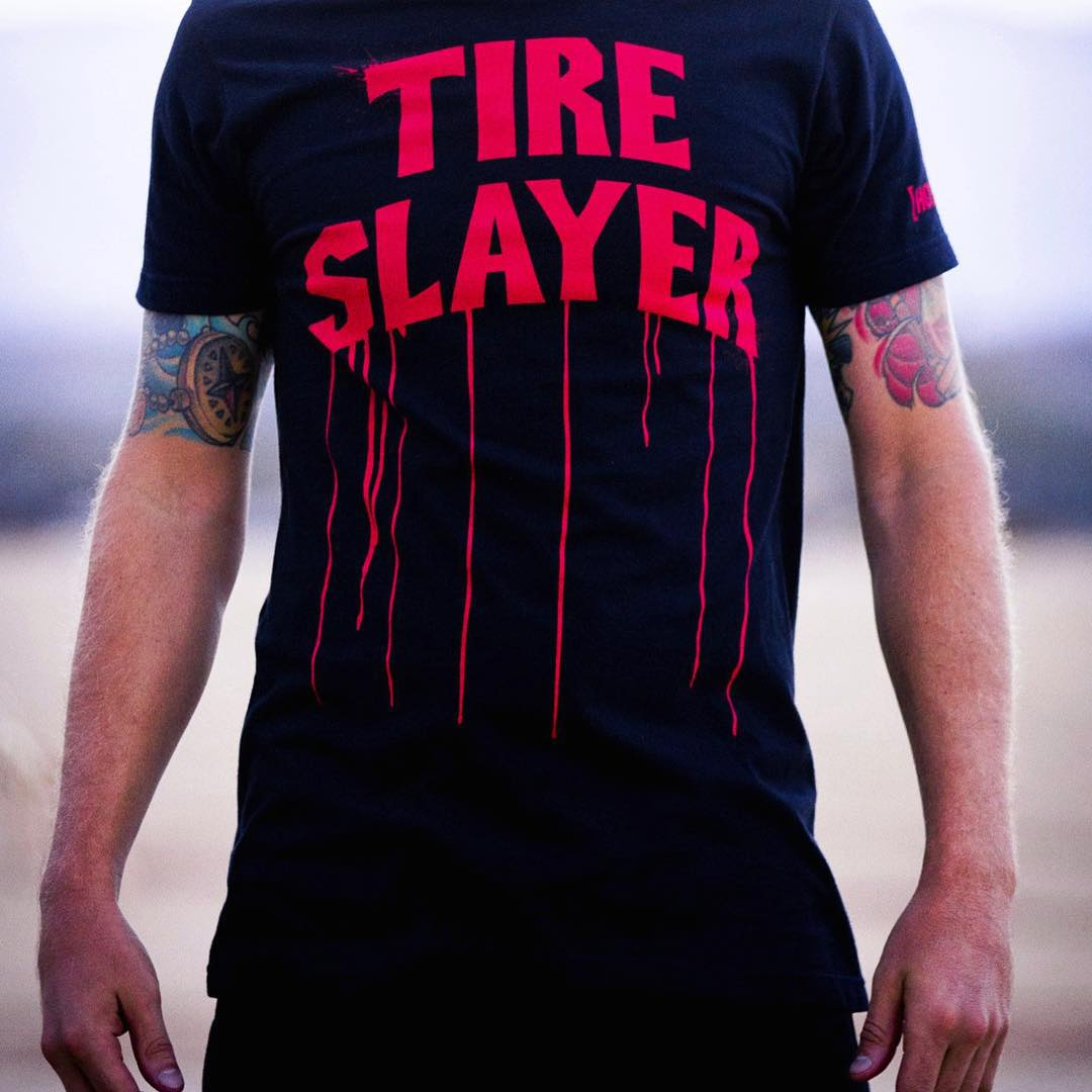 A certain #HNGN driver may have gotten the all new Tire Slayer tee a bit early. We won't say who. Check out the entire new line on #hooniganDOTcom. If that's too hard, just click the link in our bio. #workthosethumbs