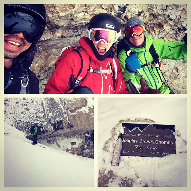 Remembering CR, we decided to pay our respect to another fallen innovator, Doug Coombs. Halfway down the Corbetts couloir you find this plaque and killer overhanging zone to watch beaters rag doll down the couloir. #CRJ #Powderweek @billyhansen...