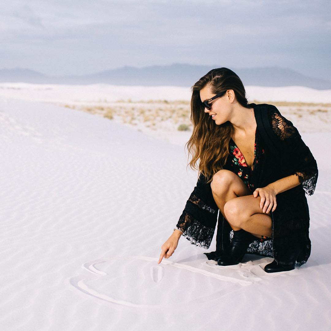 @denaemaryjane rocking her Thailands in the sand!  #soloeyewear  Photo credit: @anthonybaca  Styling credit: @biancakofman