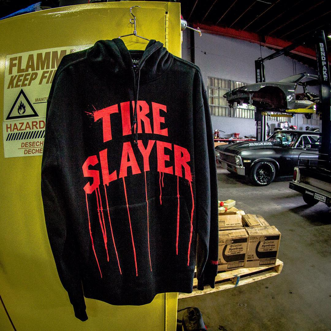 NEW ARRIVAL: The Tire Slayer pull over fleece available now exclusively on #hooniganDOTcom. #tireslayerappreciationweek