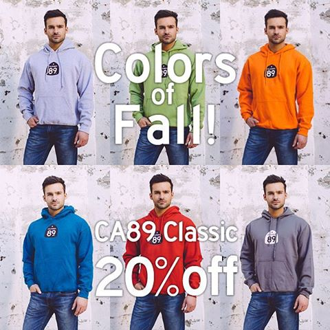 With Oct a day away, it's starting to feel more and more like fall. Were celebrating by offering 20% off our classic #CA89 hooded sweatshirt. Cozy up in your new favorite sweatshirt.