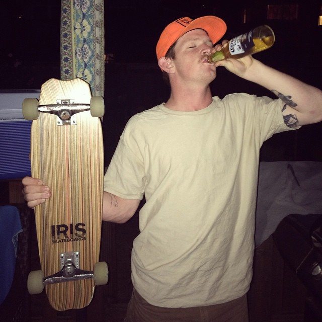 "Here's @half_calf ""drunk in love"" with his Iris Hammerhead skatebort. #recycledskateboards #irisskateboards"