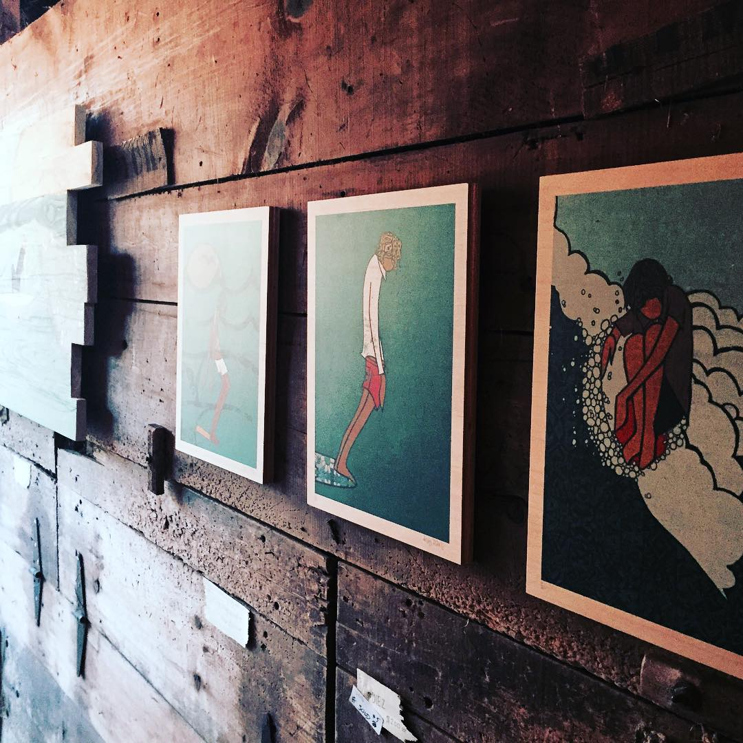 The #haybarn at the recent @grainsurfboards event in Maine was turned into the most amazing surf art gallery space by the uber talented @andydavisdesigns !
