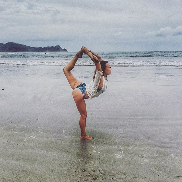 You can take your bikinis beyond the beach to #yoga, and you can take your #bikiniyoga to the beach! @kt_roams in a gorgeous #dancerpose