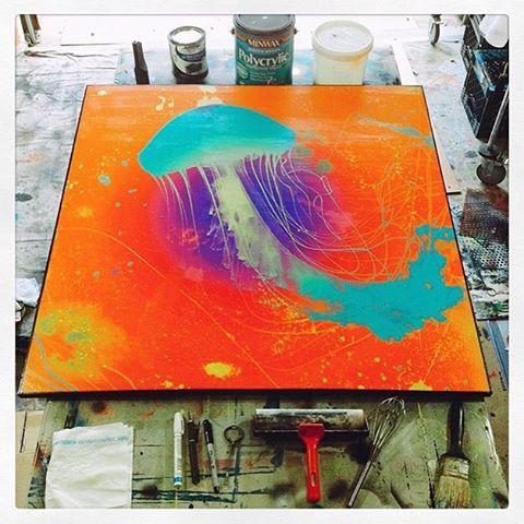 """@mingledmediums_art • • """"Jelly"""" commission • • #atx #austintx #texas #tx #spratx #art #commission #jellyfish"""