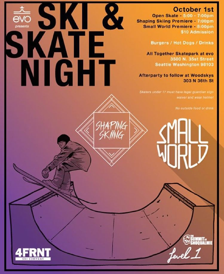 Seattle! This is happening tonight @evo and we would love to meet you. Our founder @matt_sterbenz is headed up to enlist skiers and skaters for a night out @alltogetherskatepark for a BBQ and screening of our 5th team film, Shaping Skiing, and...