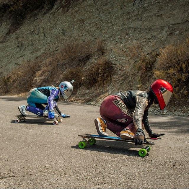@santa_gnarbara race in US was rad! @palaxa & @sk8namaste drifting tiiight. Yeah ladies!
