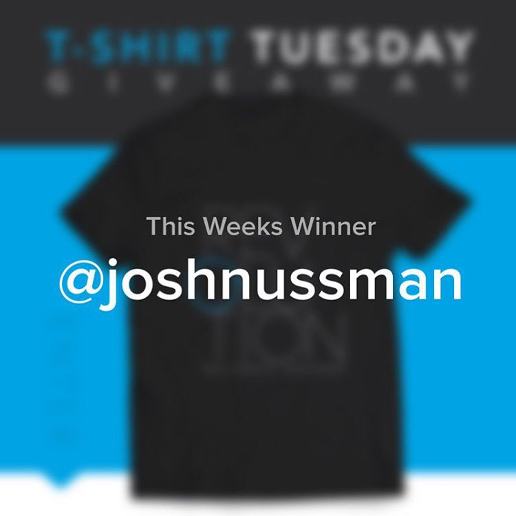 Congrats to this weeks T-shirt Tuesday winner @joshnussman -- Thanks to everyone who entered, we will be back next week with another giveaway!
