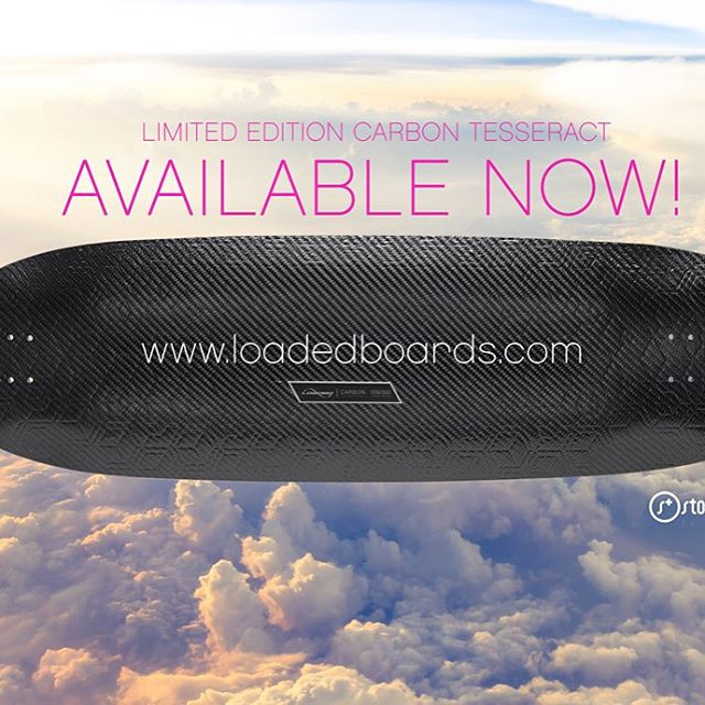 It's that time! Get your limited edition @loadedboards Carbon Tesseract deck NOW! Link is in our bio. #stokedandloaded