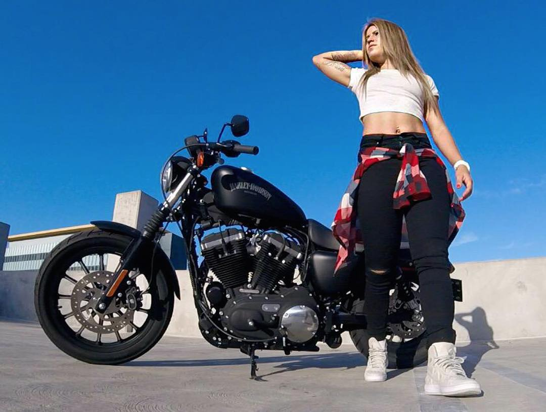 Three-time #XGames gold medalist @LeticiaBufoni is hangin' out in Hollywood with her @HarleyDavidson Sportster Iron 883!