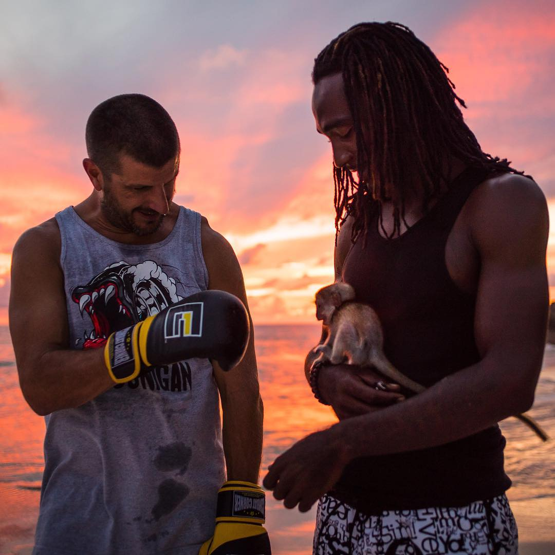 Making friends with locals on the beach here in Barbados yesterday. That little furry dude in the middle had no idea what to make of my boxing gloves! Ha. #bajanvibes #thatsunsetthough