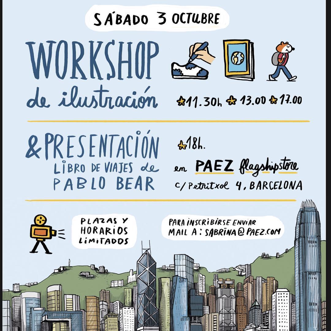 Amigos de Barcelona: mañana hay día kids friendly! Nuestro amigo @pablo.bear dará un taller de ilustración para niños y por la tarde presentara su libro de viajes.  Los esperamos!  #Paez  #illustration  #PaezStore #pablobear